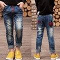 De alta qualidade, Nova primavera para crianças Vestidos de roupas Meninos Jeans crianças jeans rasgado para alunos Do ensino Médio 8 9 10 11 12 anos