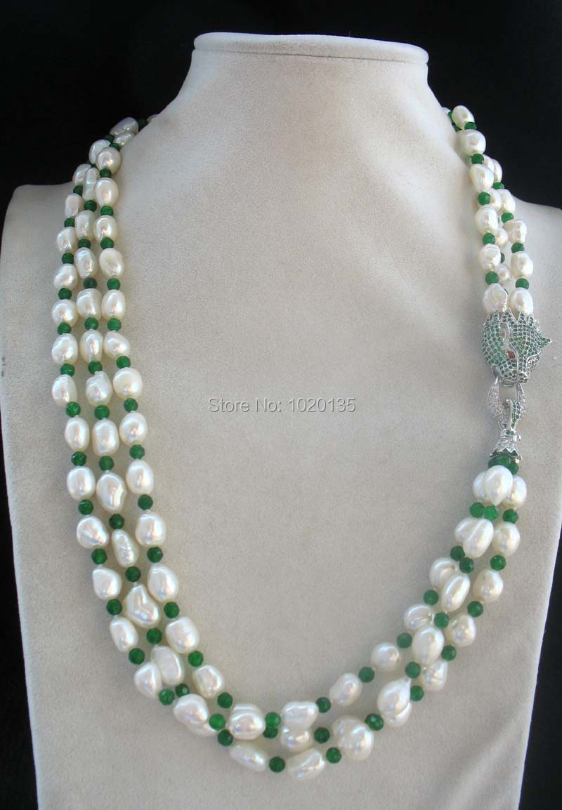 3rows freshwater pearl green leopard clasp 22 nature FPPJ green leopard