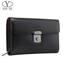 YINTE роскошный мужской кожаный кошелек для мужчин сцепления женские кошельки удобный сумки бизнес человек Высокое качество большой ёмкость