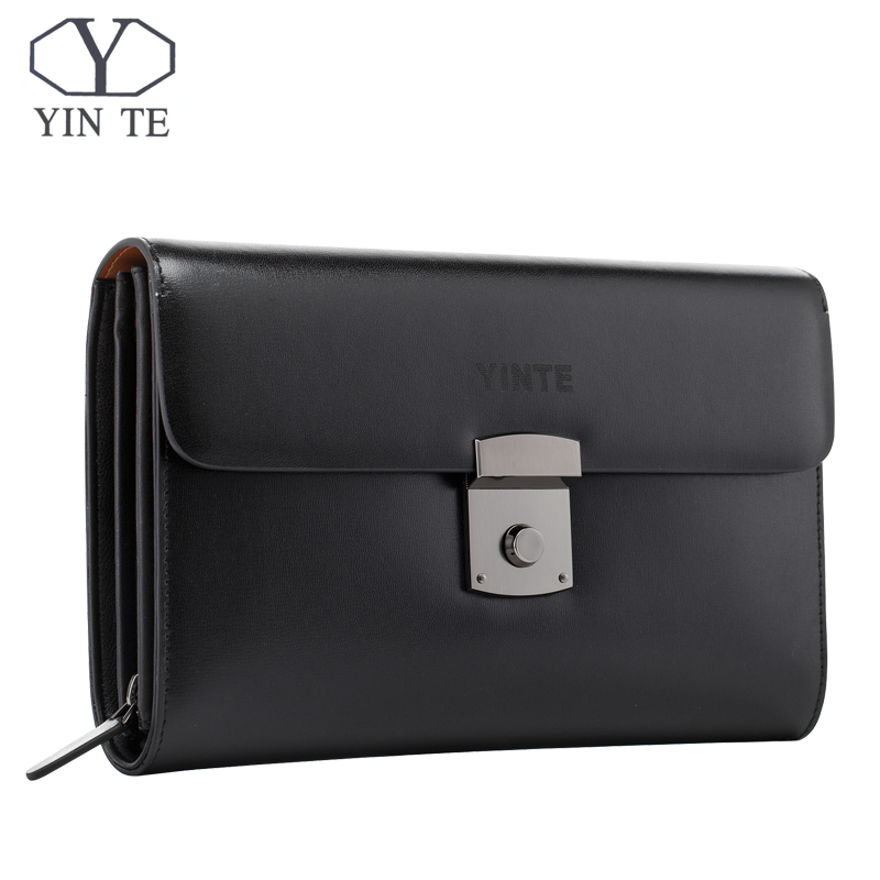 YINTE Luxury Male Leather Purse Mens Clutch Wallets Handy Bags Business Man High Quality Big Capacity Crad Holders Portfolio