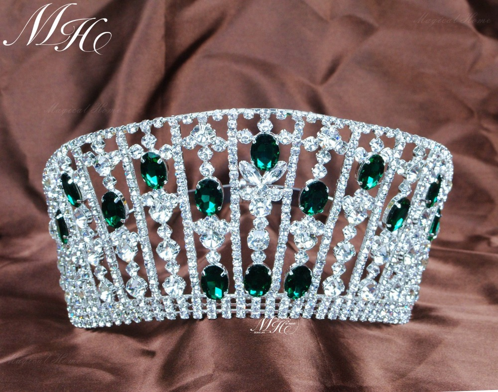 """Emerald Tiaras 3.5/"""" Green Crystal Crowns Bridal Headband Pageant Party Costumes"""