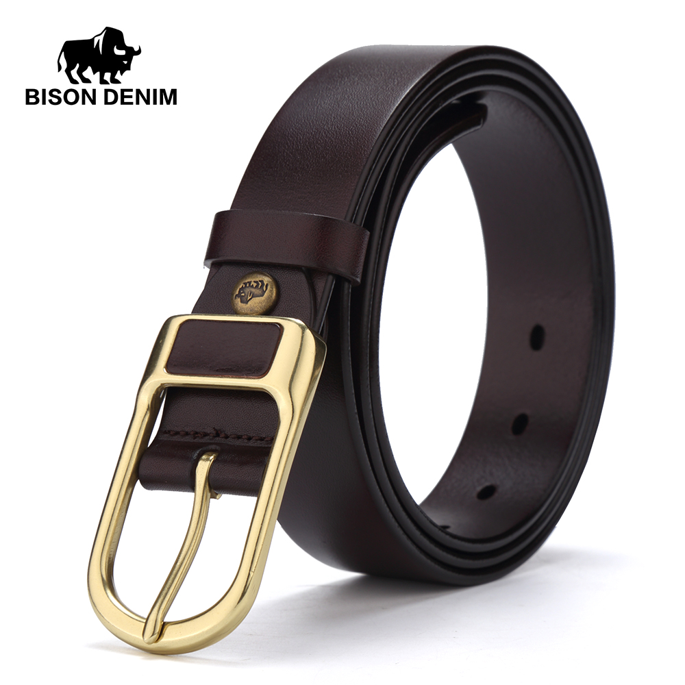 BISON DENIM Leather   Belts   Cowskin Men's   Belt   3.4cm Width Genuine Leather Male Waistband Alloy Pin Buckle   Belt   N71011