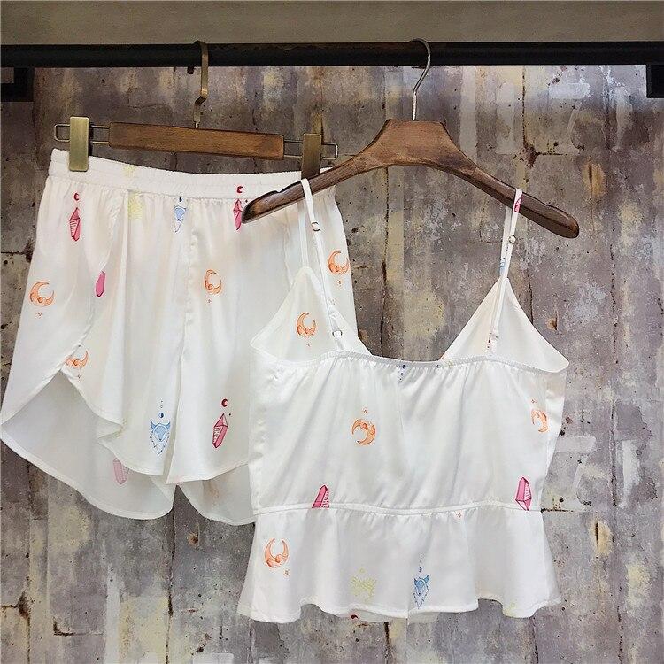 Women Pajamas Sexy Lace Silk Pyjamas Set Clothes For Women Black Straps Pijama Ladies Bathrobe Sleepwear Pajama Suit