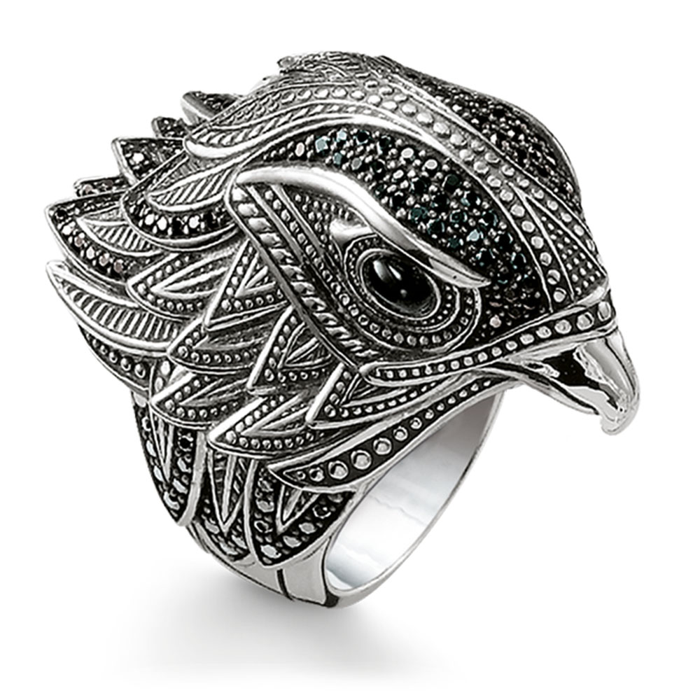 2018 Brand New Trendy Sterling Silver Eagle Creole Ring Glam Cubic Zirconia Women and Men Jewelry Vintage Untuk Wanita Bijoux creole