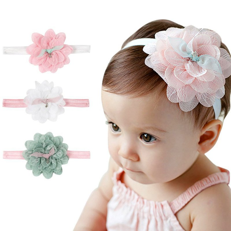 Hair Accessories Kids Girl Baby Toddler Lace Big Flower Headband Hair Band Accessories Headwear