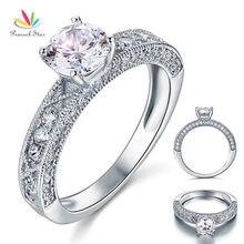 Павлин звезда Винтажный стиль 1,25 Ct Твердые стерлингового серебра 925 свадебное обещание на помолвку кольцо ювелирные изделия CFR8110