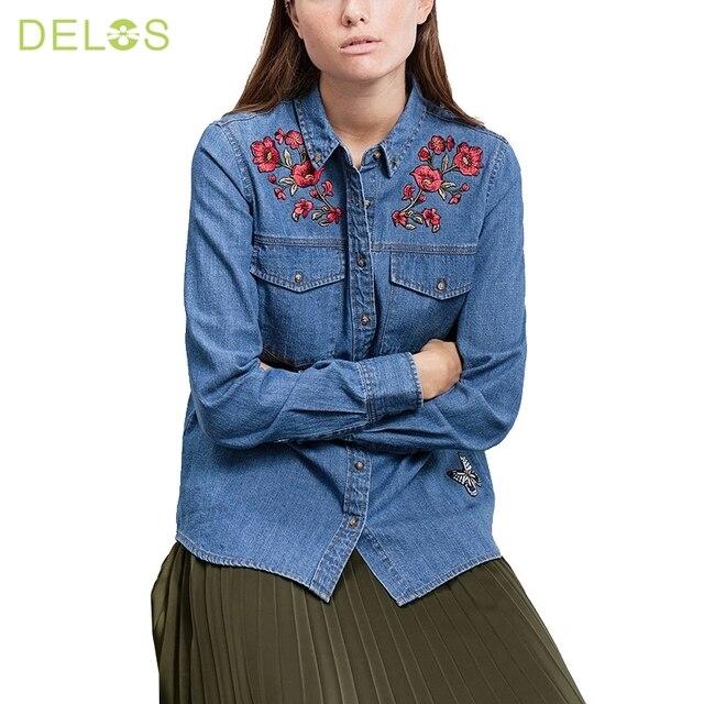 68fe181a61 NINFA Mujeres Mezclilla Camisa Chemise Femme de Jean Pantalones Vaqueros  Bordados de Flores de La Blusa