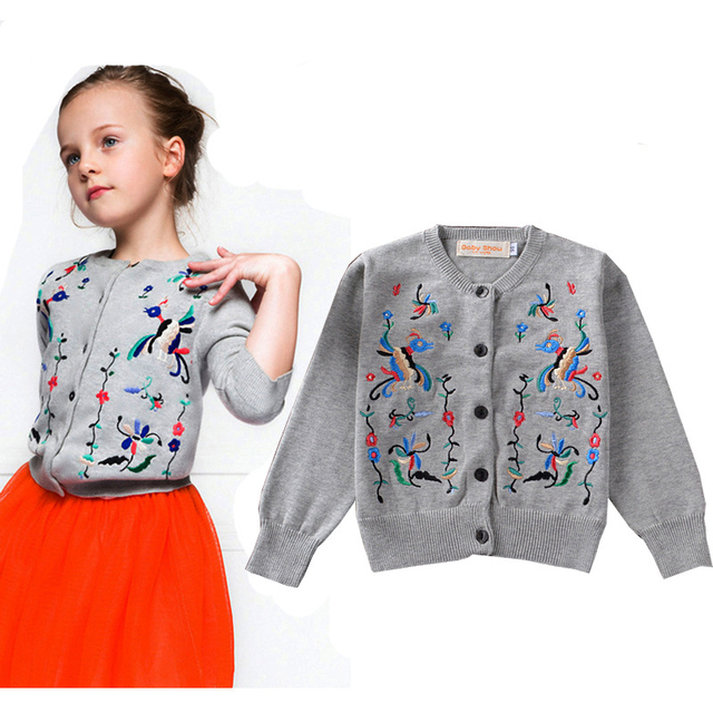 European Girls Cardigan Autumn Bird Embroidery Girl Cardigan 2015 Brand Designer Girls Woolen Long-sleeved Jacket For Girls Coat