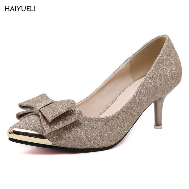 HAIYUELI delle Donne scarpe tacco alto In Metallo paillettes Nodo della  farfalla Delle Signore scarpe da 6587ef29c9d