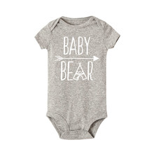 Baby bear funny letter print Summer Style Short Sleeve Newborn Infant Baby boy girl Cute Cotton Romper Jumpsuit Clothes Outfits(China)