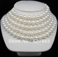 Wholesale free shipping >>100 AAAA genuine 8 9mm white pearl necklace