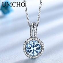 UMCHO الأزرق توباز الأحجار الكريمة المعلقات القلائد للنساء الصلبة 925 فضة قلادة ماركة غرامة مجوهرات الزفاف هدية لها