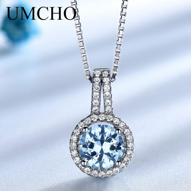 Umchoブルートパーズ宝石用原石のペンダントネックレス女性のための固体 925 スターリングシルバーペンダントブランドファイン結婚式の宝石類のギフト彼女