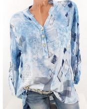 Large size Women's Blouse 2019 spring new fashion V-neck Shirt printing casual long-sleeved button pocket Women Shirt alfani new orange tangerine women s size 10 v cut half button pocket blouse $49 page href page 2