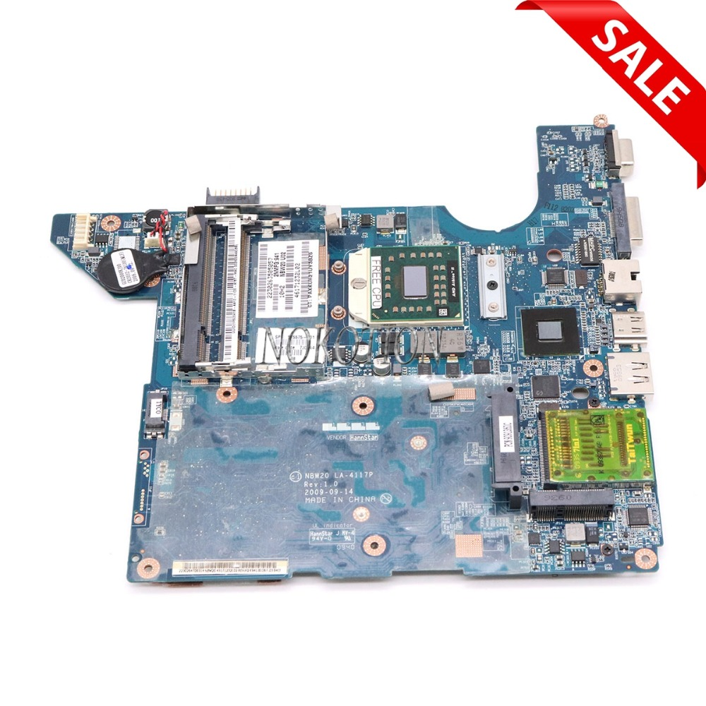 NOKOTION 575575-001 NBW20 LA-4117P laptop motherboard for HP DV4 INTEGRATED DDR2 Mainboard send cpu nokotion igl50 la 3371p for lenovo 3000 y500 f50 laptop motherboard mainboard 940gml ddr2 with cpu
