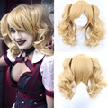 Cosplay Batman Harley Quinn Style Women Synthetic Hair Wig Golden Brown Straight Sakura Anime cosplay Wigs Free Cap