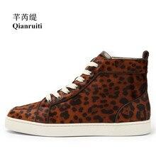 Qianruiti Men Leopard Shoes Horsehair Sneaker Lace-up Flat High Top Men Camping Shoes Plus Size 39-47