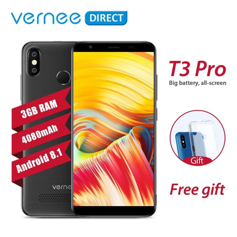 D'origine Vernee T3 Pro Smartphone 3 gb RAM 16 gb ROM Téléphone portable Double SIM Slot 4080 mah 5.5 pouce visage ID 4g Android 8.1 Mobile Téléphone