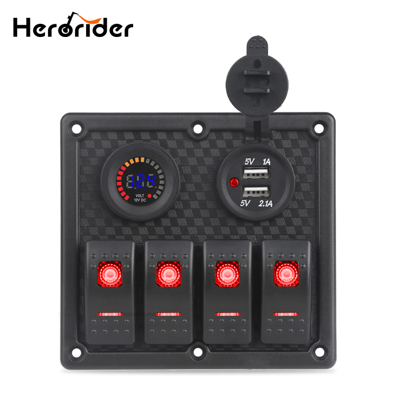цена на Dual USB Charger Socket Car Boat Rocker Switch Panel Digital Voltmeter Car Switch Panel LED Switch USB Marine Switch Panel