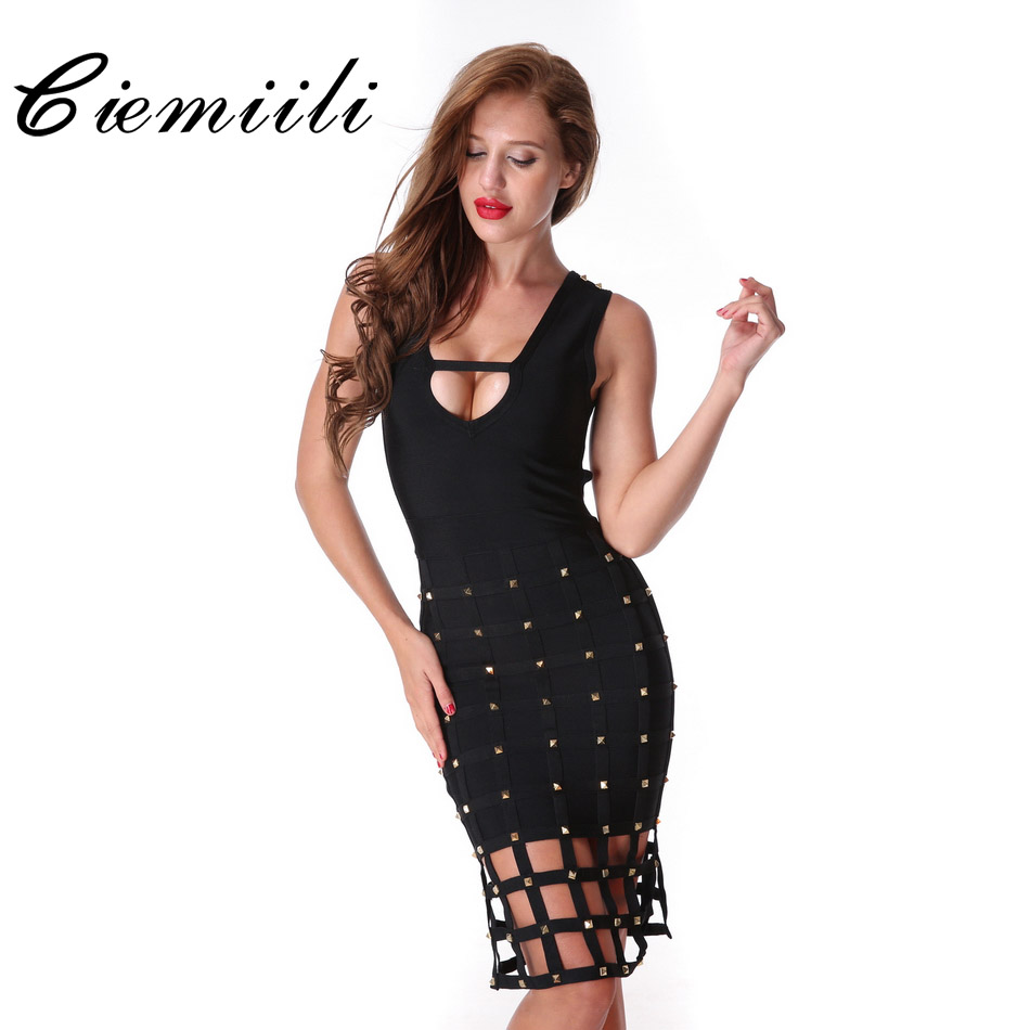 Free Shipping Hollow Out Dress Bodycon Black New 2017 Sexy
