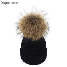 Ditpossible children winter knitted beanies hat real fur pompom hats boys bonnet gorro girls skullies 2-6year old kids