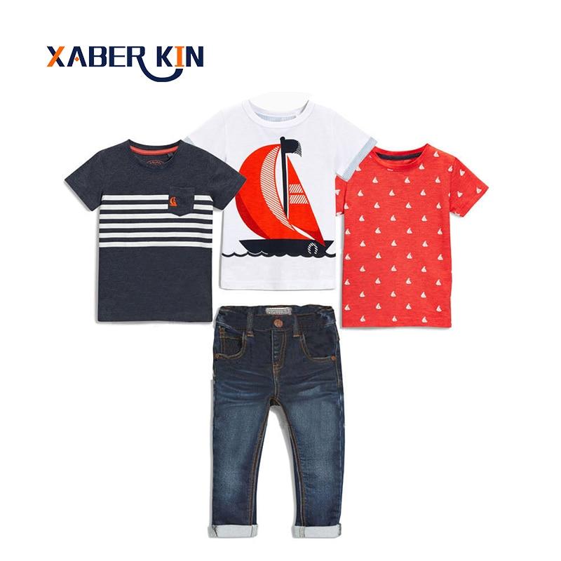 Xaber Kin 4pcs/set Clothing Set For Boys Short Sleeve T-shirt Fashion Children Set Boys Suits Cotton Kids Clothes