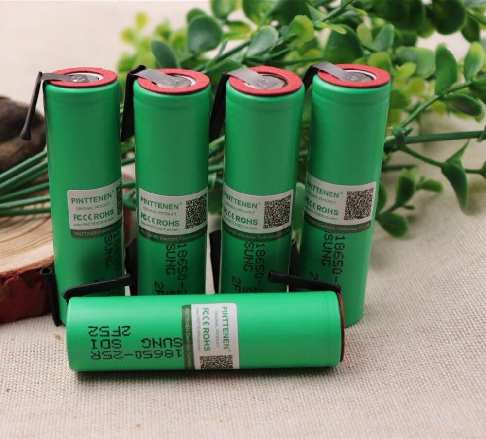 2018 10PCS PINTTENEN 100% Original For Samsung 18650 2500mah battery INR18650 25R 20A discharge lithium batteries 1pcs for samsung original 18650 25r inr1865025r 20a discharge lithium batteries 2500mah electronic cigarette power battery