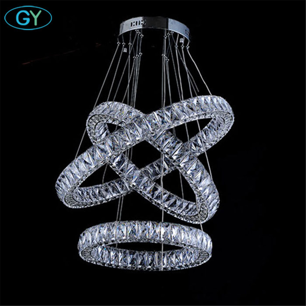 AC100-240V D20cm to D80cm three sides LED crystal pendant lights 2018 New Arrival Modern Long crystal diamond lamp Free Shipping