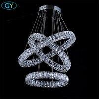 AC100 240V D20cm to D80cm three sides LED crystal pendant lights 2018 New Arrival Modern Long crystal diamond lamp Free Shipping