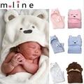 80*80 cm Coral do Velo Cobertores Do Bebê Receber Cobertores Bebê Recém-nascido Crianças Blanket Menino & Menina Da Criança Urso Dos Desenhos Animados Saco de dormir