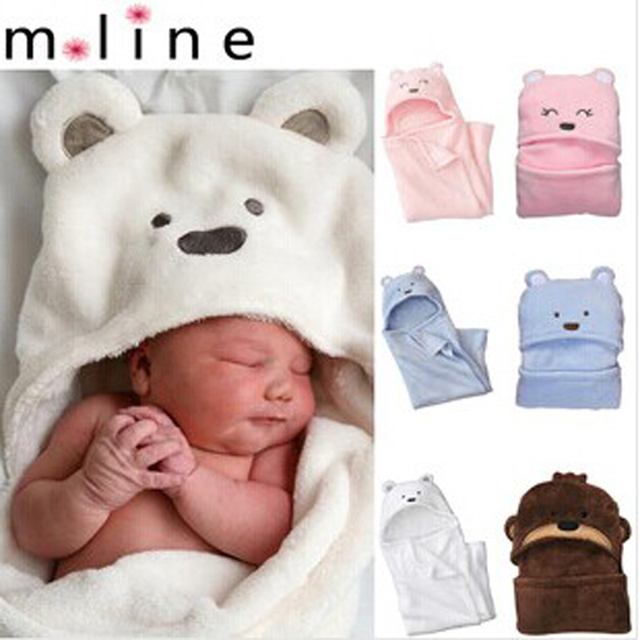 80*80cm Coral Fleece Baby Blankets Newborn Kids Baby Blanket Receiving Blankets Boy&Girl Toddler Cartoon Bear Sleeping Bag