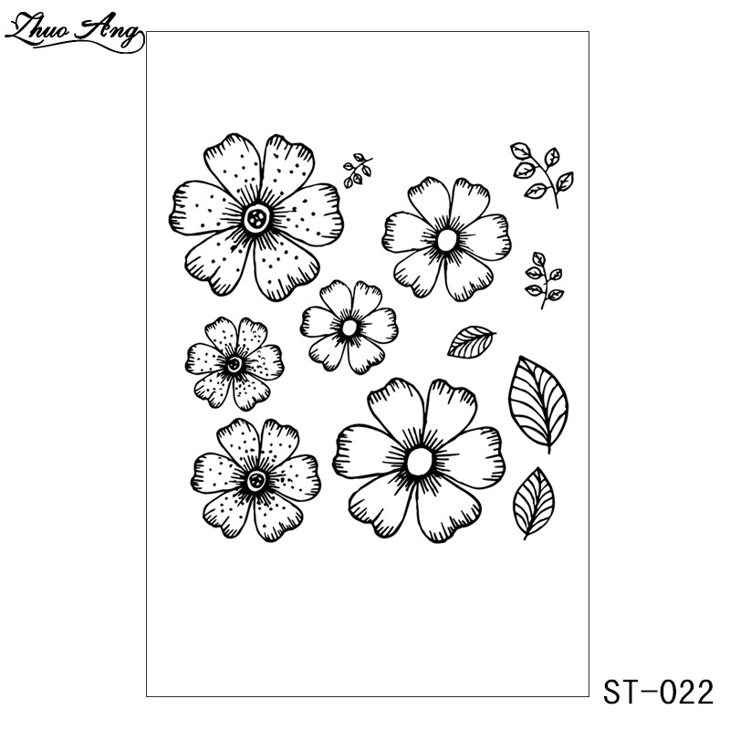 ZhuoAng Little Flowers Metal Cutting Dies and Clear Stamp Set for DIY Scrapbooking Photo Album Decoretive Embossing Stencial in Stamps from Home Garden