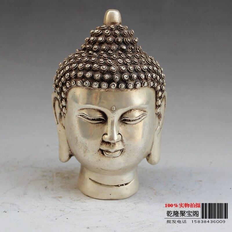 Tibet Silver domácnost ozdoba Tathagata Buddha hlava sochy kovového řemesla Buddhy