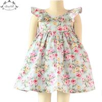 Vintage Floral Girls Dress Ruffle Sleeve Backless Bule Flower Baby Girls Summer Dress Boutique Girls Clothes