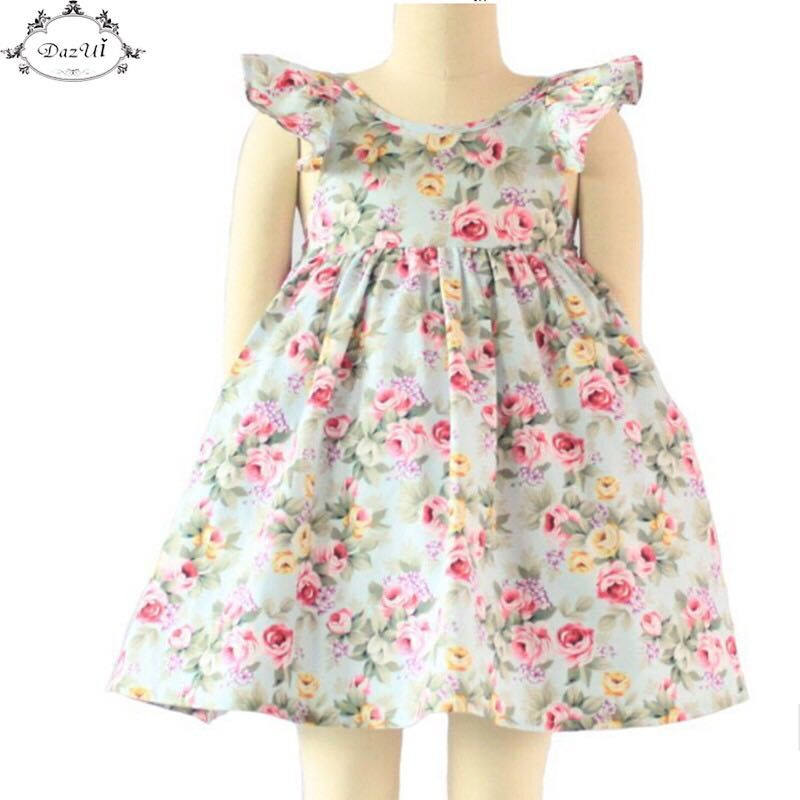 Vintage Floral Girls Dress Ruffle Sleeve Backless Bule