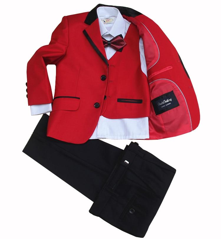 jacket vest pants bow tie Children Formal Suit Jacket Wedding boys Dress Suit 4 Pieces set