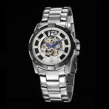 GOER brand Men s Skeleton wrist watch Sports waterproof Mechanical automatic Stainless Steel male Watch Luminous