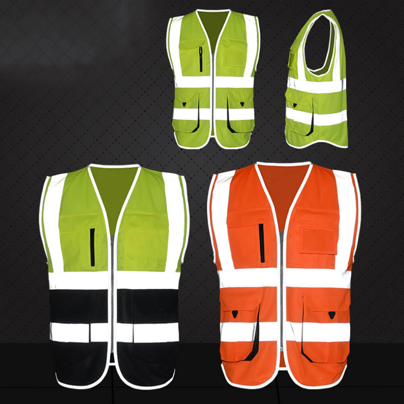 High Visibility Reflective Safety Vest Reflective Vest Multi Pockets Workwear Safety Waistcoat Safety Clothing Orange Green high vis fleece visibility safety jumper