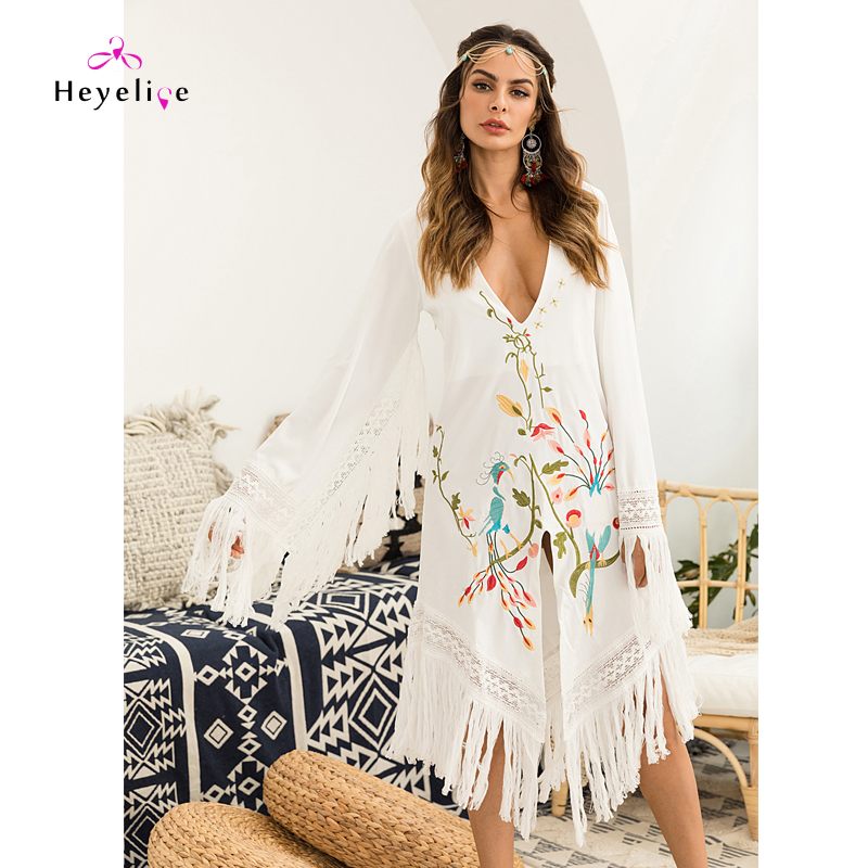 Sexy Bikinis Cover Up Manches Longues Broderie Robe Profonde V Blanc Maillots De Bain Plage Couvre Avec Sexy Glands Nouvelle Tunique Beachwear
