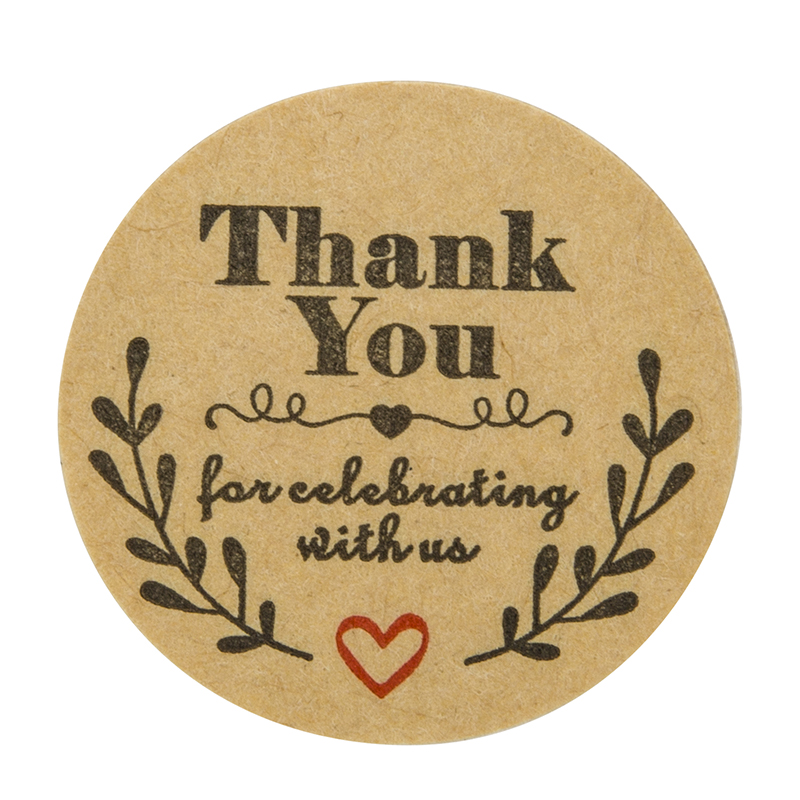 Купить с кэшбэком 1000pcs Natural Kraft olive round thank you Stickers seal labels for celebrating with us labels stickers and stationery sticker