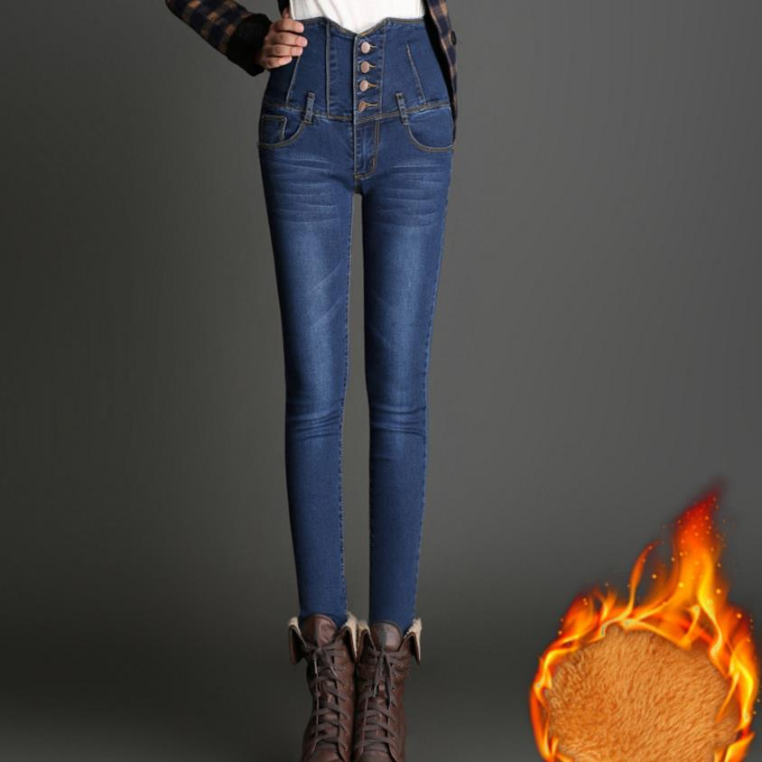 2018 Plus Velvet Thicken Trousers Women Plus Size Breasted Waist Jeans Casual Slim Pencil Pants