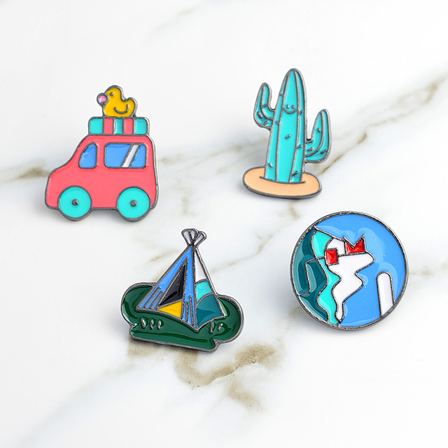 US $0 83 31% OFF|Cartoon pins and brooches Mountain tent cactus car badges  hard enamel pins Denim jacket tote bag backpack kids jewelry -in Brooches