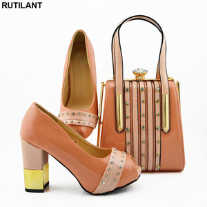 Image 3 - New Italian Designer Shoes and Bags Matching Set African Women Shoes Bags Set  High Heel Women Party Pumps Elegant Crystal Shoes