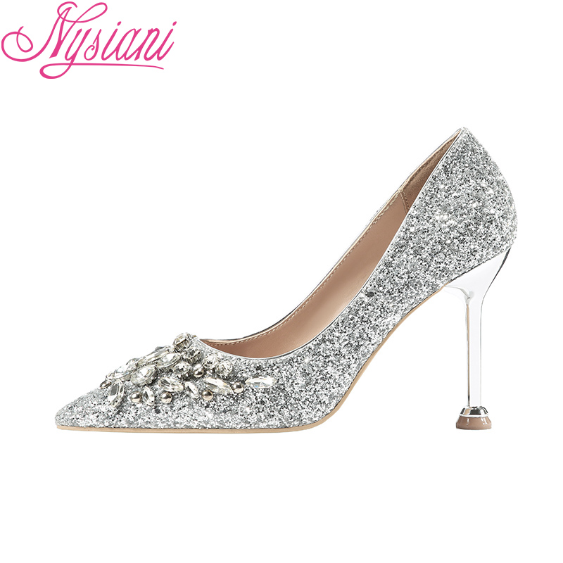 Pointu sur Hauts Femmes 2019 Nysiani Chaussures Sexy Bout De red Tissu Mode gold Strass Paillettes silver Robe Black Talons Boîtes Nuit Slip Pompes qxzYzt6wF