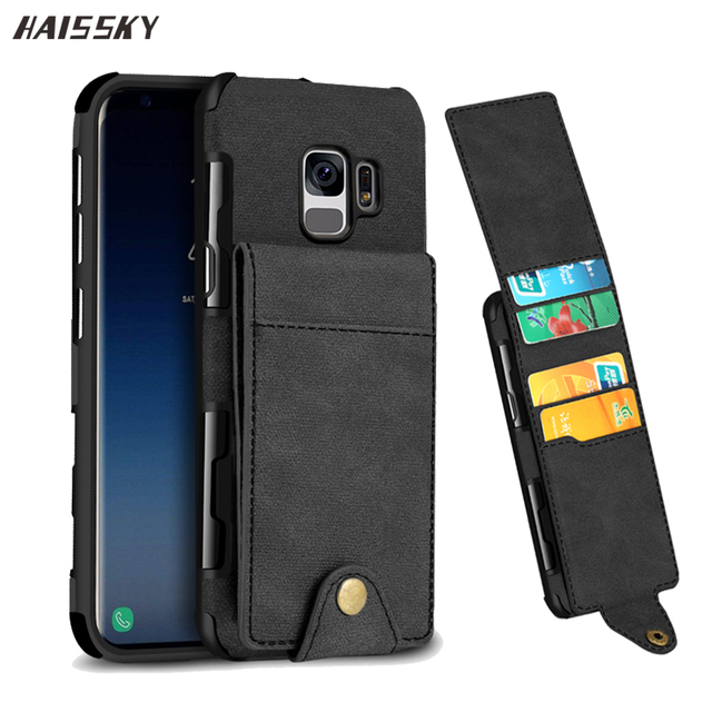 save off 8f865 0e5e1 US $5.99 40% OFF|HAISSKY Leather Wallet Case For Samsung Galaxy S8 S9 Plus  Flip Cover Credit Card Up Down For Galaxy S8 S9 Phone Case Fundas-in Wallet  ...