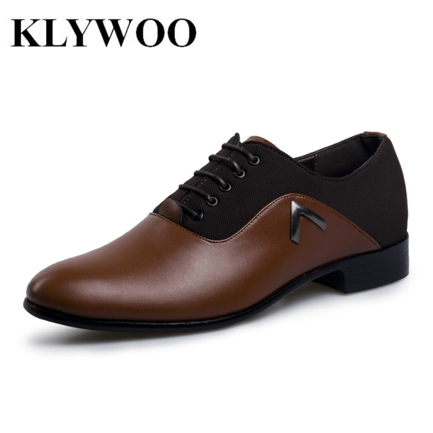 KLYWOO Brand New Simple Style Men Dress Shoes Leather Breathable Lace Up Oxford Shoes For Men