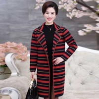 The New Middle Aged Women S Autumn Striped Knit Coat Big Yards Mother Dress Fashion Long