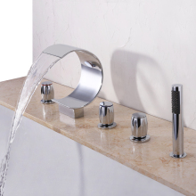 цена на Deck Mounted Waterfall Bathtub Faucet Widespread Tub Sink Mixer Taps Chrome Brass