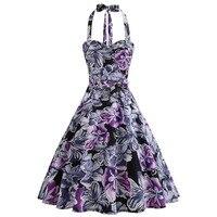 Women's summer cool heart retro big swing cute purple dresses hanging neck wrapped chest strap waist print dress