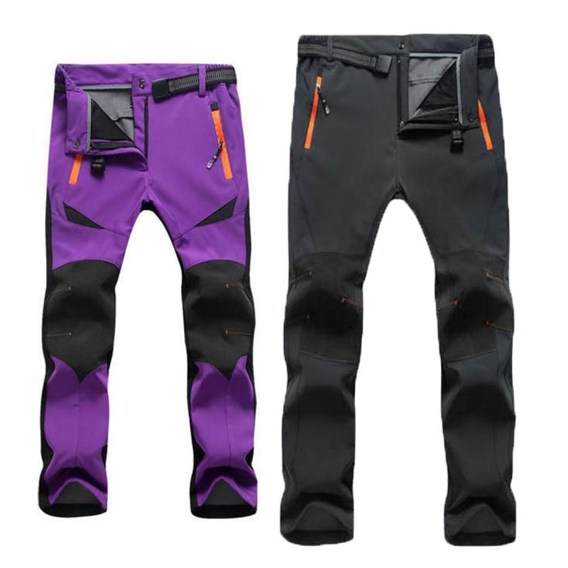 4XL Men Women Winter Waterproof Skiing Trekking Fishing Climbing Hiking Camping Pants Softshell Trousers Sports Fleece Plus Size